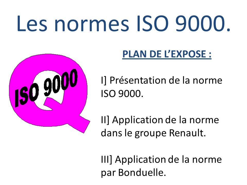 Les normes ISO 9000. I] Présentation de la norme ISO 9000.